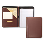 Samsill Contrast Stitch Leather Padfolio, 8 1/2 x 11, Leather, Tan