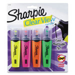 Sharpie® Clearview Highlighter, Smear Guard, 4/PK, AST