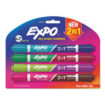 Expo® 2-in-1 Dry Erase Markers, 8 Assorted Colors, Medium, 4/Pack