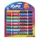 Expo® 2-in-1 Dry Erase Markers, 16 Assorted Colors, Medium, 8/Pack