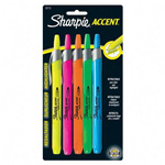 Sanford Retractable Highlighters, Chisel Tip, Assorted Fluorescent Colors, 5/Set