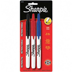 Sanford Retractable Permanent Markers, Fine Point, Assorted, 3/Set