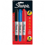Sharpie® Twin Tip, Fine/Chisel Point, Black/Red/Blue