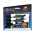 Expo® Dry Erase Markers, Chisel Tip, Black, 4/Pack