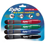 Expo® Bullet Tip Markers with Eraser and Grip, Four Color Set