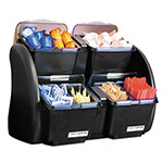 San Jamar The Dome Garnish Center, 4 Compartments, Black/Clear