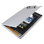 "Saunders Storage Clipboard with iPad 2nd Gen/3rd Gen Compartment, 1/2"" Capacity, Silver"