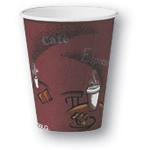 Solo 8 Oz Hot Paper Cups, Coffee Design, Pack of 1000