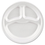 "Solo Basix Foam Dinnerware, Plate, 9"" dia, 3 Compartment, White"