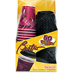 Solo Bistro Hot/Cold Foam Cups with Lids, 12 oz., Maroon, 50/Pack