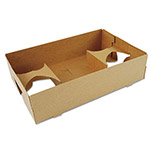 Southern Champion 4-Corner Pop-Up Food and Drink Tray, 4-Cup, 10x6.5x2.5, Brown, 250/Carton