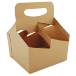 Southern Champion Automatic Drink Carrier With Handle, 4-Cup, Kraft, 7 x 7 x 9
