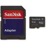 Sandisk microSD Memory Card w/Adapter, 4GB