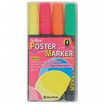Shachihata. U.S.A. Poster Markers, Highly Opaque, Bullet Point 2.0mm, 4/Set, Assorted Colors