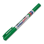 Shachihata. U.S.A. Twin Nib Marker w/.4mm Resin Tip & 1.05mm Acrylic Fiber Tip, Green