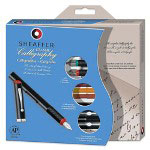 Sheaffer Pen Calligraphy Maxi Kit, with 3 Pens, 3 Nibs, 14 Assorted Color Ink