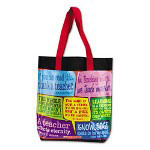 "Scholastic Tote Bag, Canvas, 16 1/2"" w x 16 1/2"" h, 4"" Gussett, Teaching Quotes"