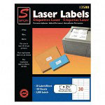 "Simon Marketing Laser Mailing Labels, 1""x2 5/8"", 3000, Bright White"