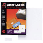 "Simon Marketing Laser Mailing Labels, 1/2"" x 1-3/4"", 2000/Box, Bright White"