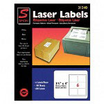 "Simon Marketing Laser Mailing Labels, 3 1/3""x4"", 600, Bright White"