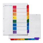 Simon Marketing 1-10 Index Tabs, Assorted Colors