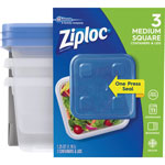 Ziploc® Container, Square, Med, 3/PK, Clear