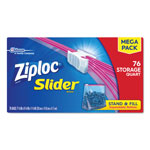 Ziploc® Slider Storage Bags, Quart, Clear, 9/Carton