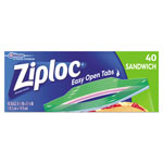 Ziploc® Resealable Sandwich Bags, 6 1/2 x 5 7/8, 1.2 mil, Clear, 40/Box