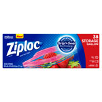 Ziploc® Double Zipper Storage Bags, 10-9/16 x 10-3/4, 1 Gal, 1.75 Mil, Clear, 38/Box