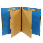 "Selco Industries Hanging Classification Folder, w/2"" Fasteners, Letter, 10/Box, Cobalt"