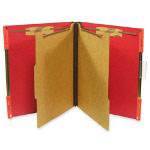 "Selco Industries Hanging Classification Folder, w/2"" Fasteners, Letter, 10/Box, Ruby Red"