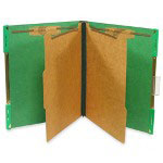 "Selco Industries Hanging Classification Folder, w/2"" Fasteners, Letter, 10/Box, E.Green"