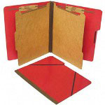 S And J Paper / Gussco Six Section Classification Folios with Fasteners, Letter, Executive Red, 10/Box