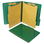 S And J Paper / Gussco Six Section Classification Folios with Fasteners, Letter, Forest Green, 10/Box