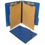 S And J Paper / Gussco Six Section Classification Folios with Fasteners, Legal, Pacific Blue, 10/Box