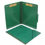S And J Paper / Gussco Pressboard Folios with 2 Fasteners & Elastic Closure, Letter, Forest Green, 15/Box