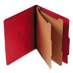 "S And J Paper / Gussco Standard Classification Folder, 6 Section, 2 1/4"" Exp, Letter, 15/BX, Ruby Red"