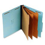 "S And J Paper / Gussco Standard Classification Folder, 8 Section, 3"" Expansion, Letter, 10/BX, Blue"