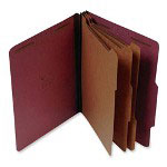 "S And J Paper / Gussco Standard Classification Folder, 8 Section, 3"" Expansion, Legal, 10/BX, Red"