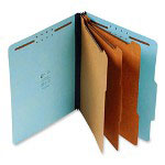 "S And J Paper / Gussco Standard Classification Folder, 8 Section, 3"" Expansion, Legal, 10/BX, Blue"