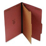 "S And J Paper / Gussco Standard Classification Folder, 4 Section, 1 1/2"" Expansion, Legal, 20/BX, Red"