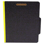 S And J Paper / Gussco Classifcation Folder, Two Dividers, Letter, Black/Yellow, 15/Box