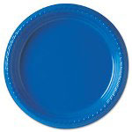 "Solo Disposable 9"" Plastic Plates, Blue, Pack of 25"