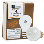 Supreme Lighting Incandescent Bulbs, Extra Long Life, 40 Watts, 130 Volts, 4/Pack