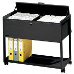 Smead Adjustable File Cart with Letter & Legal Size, Black