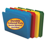 Smead Top Tab Waterproof Poly File Folders, 1/3 Tab, Letter, Assorted Colors, 24/Box