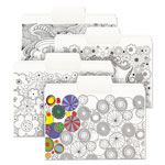 "Smead SuperTab Coloring File Folders, 1/3 Cut, 3/4"" Expansion, Letter, White, 24/Pack"