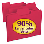 Smead Colored File Folders, 1/3 Cut, 11 Pt. Stock, Letter, Red