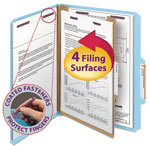 Blumberg's Law Products Four Section Pressboard Classification Folders, Letter, Blue, 10/Box
