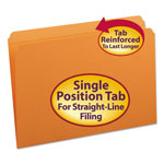 Smead Top Tab File Folders, Double Ply Top, Straight Cut Top, Legal, Orange, 100/Box